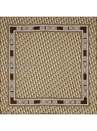 """Платок Dior шелковый белый с коричневым """"Monogram"""" 1873-90"""