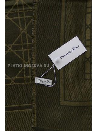 Платок Dior темно-зеленый с золотом 2248-100