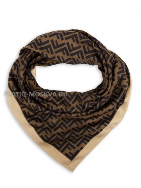 """Платок Fendi шелковый коричневый с бежевым """"Monogram"""" 3127"""