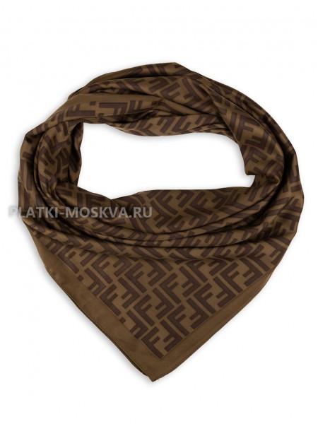 """Платок Fendi шелковый коричневый """"Monogram"""" 3126"""