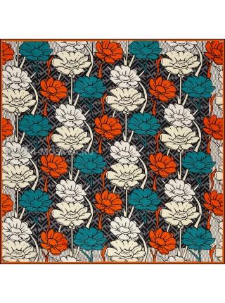 """Платок Fendi шелковый серый с белым """"Flower"""" 1862-90"""