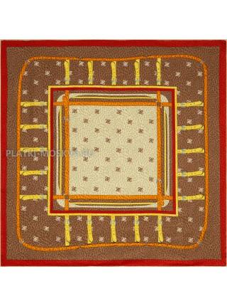 """Платок Fendi шелковый коричневый """"Ремни"""" 1857-90"""