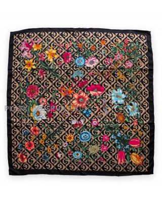 "Платок Gucci шелковый темно-бежевый ""Флора"" 1721-140"