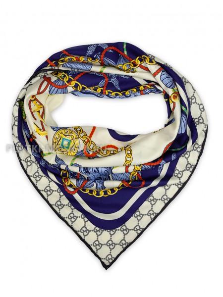 """Платок Gucci шелковый молочный с синим """"Морской"""" 1866-90"""