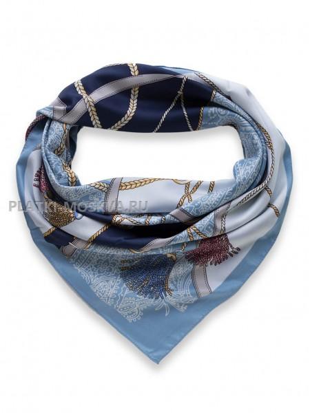 """Платок Hermes шелковый голубой """"Ремни"""" 3506"""