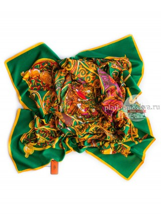 Платок Hermes шелковый зеленый с золотыми узорами 320
