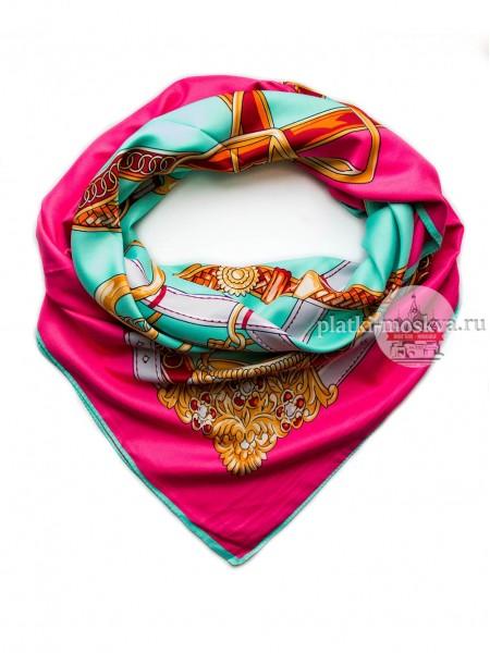 Платок Hermes шелковый бирюзовый с розовым орнамент 325