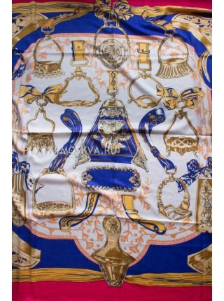 Платок Hermes шерстяной фуксия с синим 3901