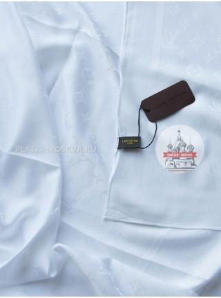 Платок брендовый шелковый белый однотонный 199-5