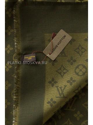 Платок брендовый темно-зеленый с золотом 145-100