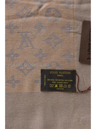 Платок брендовый серый с бежевым 1066