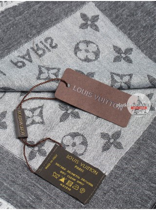 Платок брендовый темно-серый с белым 149