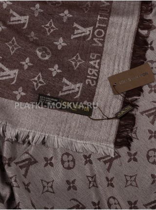Платок брендовый белый с коричневым 1094