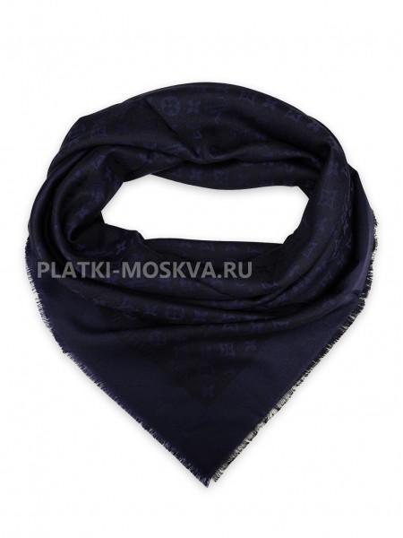Платок брендовый темно-синий с черным 1098