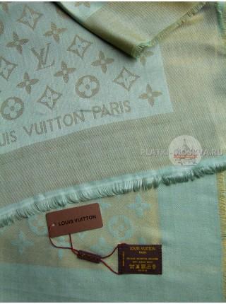 Платок брендовый бледно-зеленый с золотом 173