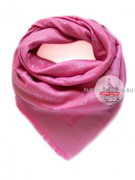 Платок брендовый розовый с серебром 191