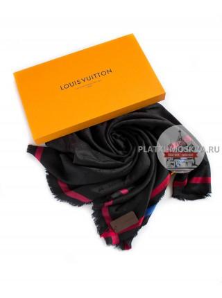 Платок брендовый черный с полоской 194
