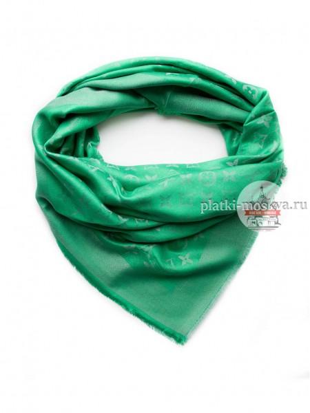 Платок брендовый зеленый с серебром 118