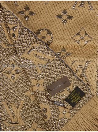 Шарф брендовый Logomania Shine бежевый с золотом 1052-2