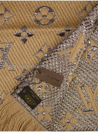 Шарф брендовый Logomania Shine бежевый с серебром 1052-1