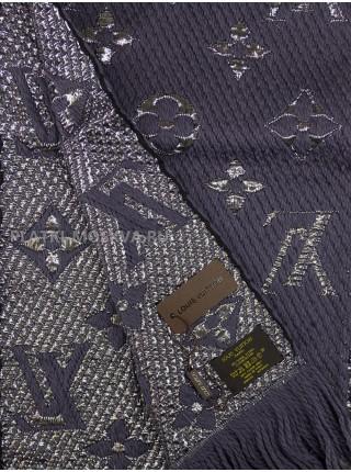 Шарф брендовый Logomania Shine темно-серый с серебром 1053-3