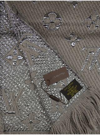 Шарф брендовый Logomania Shine серый 1053