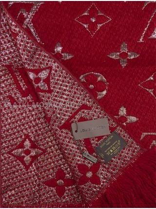 Шарф брендовый Logomania Shine бордовый с золотом 1056-1