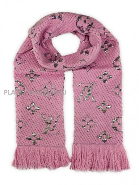 Шарф брендовый Logomania Shine розовый 1055-1