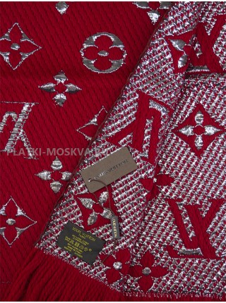 Шарф брендовый Logomania Shine бордовый с серебром 1056