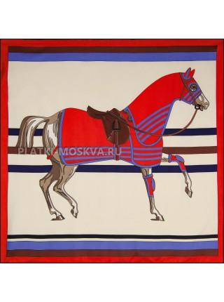 """Платок Hermes шелковый бежевый с красным """"Лошадь"""" 1824-90"""