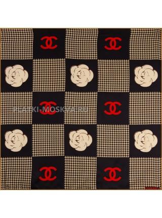 """Платок Chanel шелковый черный с бежевым """"Гусиная лапка"""" 1833-90"""