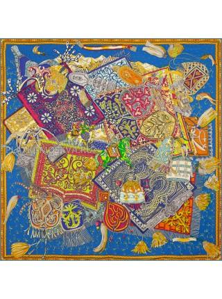 Платок Hermes шелковый синий «Всадники Кавказа» 1840-140