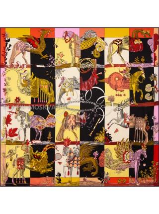 """Платок Hermes шелковый черный с желтым """"Фантазийный"""" 1836-140"""