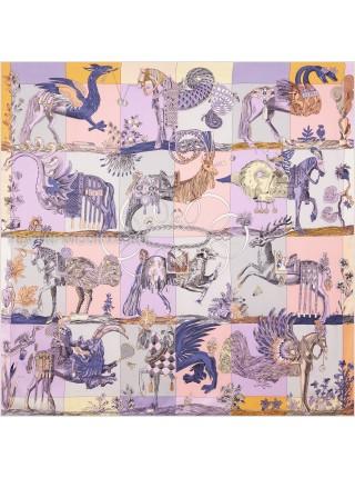 """Платок Hermes шелковый сиреневый """"Фантазийный"""" 1835-140"""