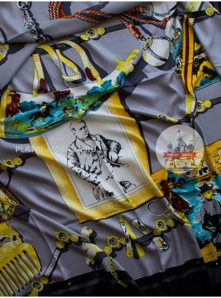 Платок Hermes шелковый черный «Тьерри Эрмес» 1312-140