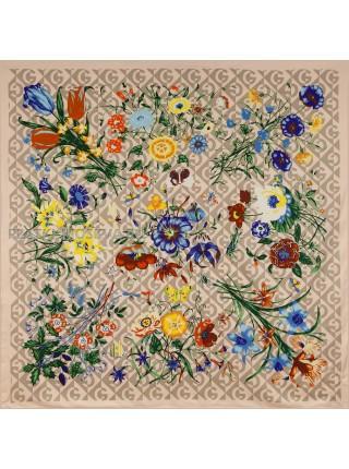 """Платок Gucci шелковый розовый """"Флора"""" 1877-140"""