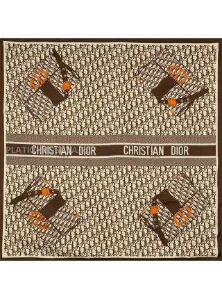 """Платок Dior шелковый коричневый """"Monogram Bag"""" 1876-90"""