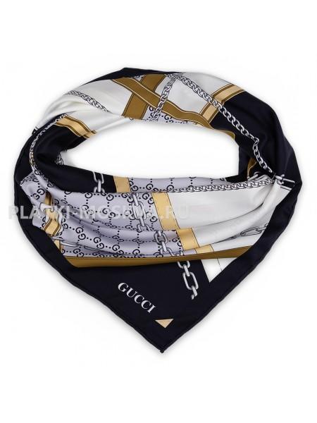 """Платок Gucci шелковый черный с белым """"Ремни и цепи"""" 1789-90"""