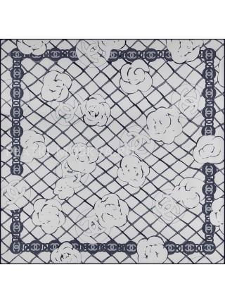 """Платок Chanel шелковый белый """"Бутоны"""" 1784-90"""
