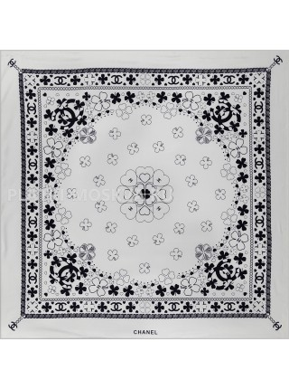 "Платок Chanel шелковый белый ""Клевер"" 1739-90"