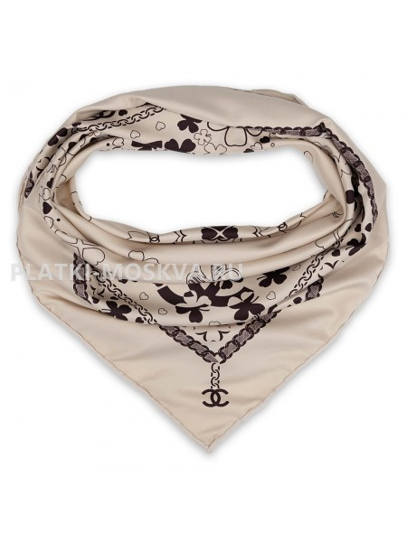 "Платок Chanel шелковый бежевый ""Клевер"" 1741-90"