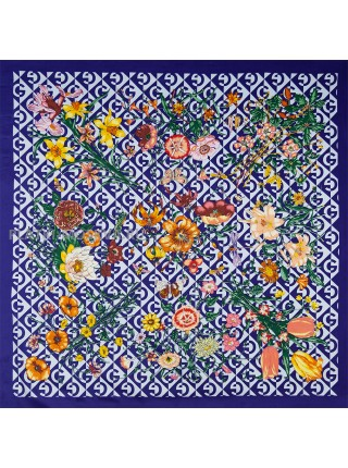 "Платок Gucci шелковый синий ""Флора"" 1720-140"