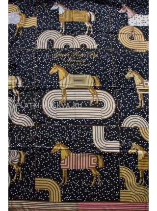 Платок Hermes шелковый черный «Pop-art» 1384-140