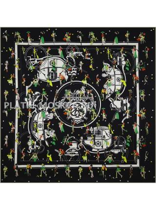 """Платок Hermes шелковый черный """"Vie en ville"""" 1708-140"""
