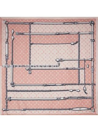 Платок брендовый шелковый розовый с ремнями 037-90
