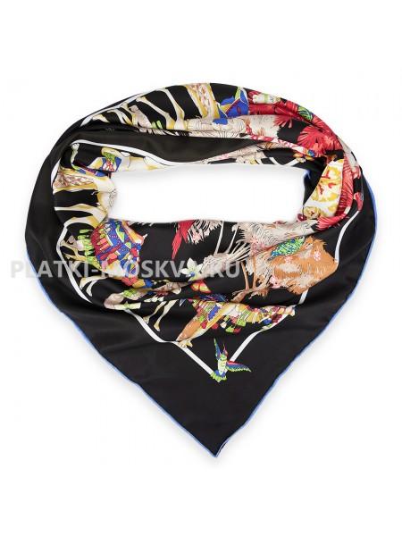 """Платок Hermes шелковый черный """"Route de la soie"""" 1702-140"""