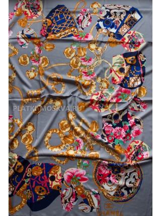 "Платок Chanel шелковый серый ""Флакон"" 1714-140"