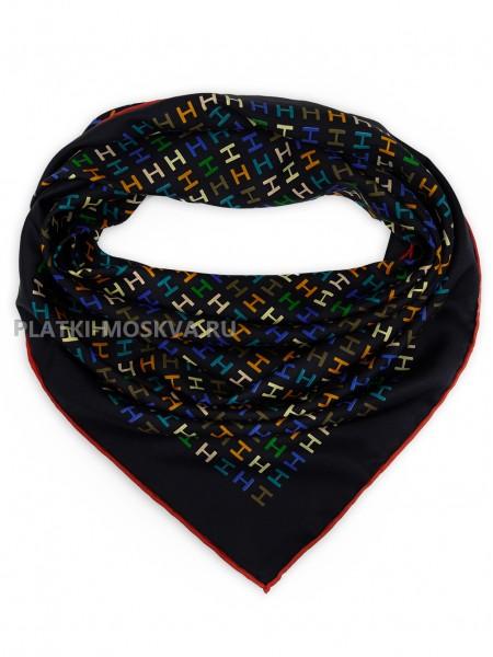 """Платок Hermes шелковый черный """"Логотипы"""" 1724-90"""