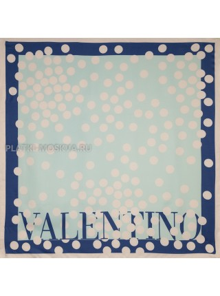 "Платок Valentino шелковый бирюзовый ""Горох"" 3582"