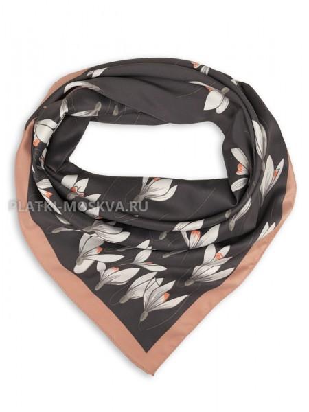 """Платок Valentino шелковый темно-серый """"Подснежники"""" 3562"""